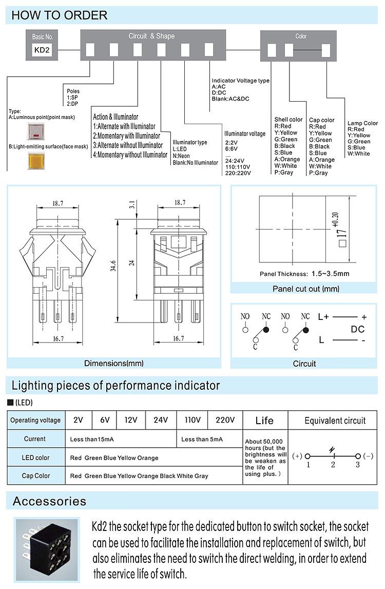 Kd21717mm Push Button Switch Shanghai Yongxing Electronic Wiring Diagram For Kd2