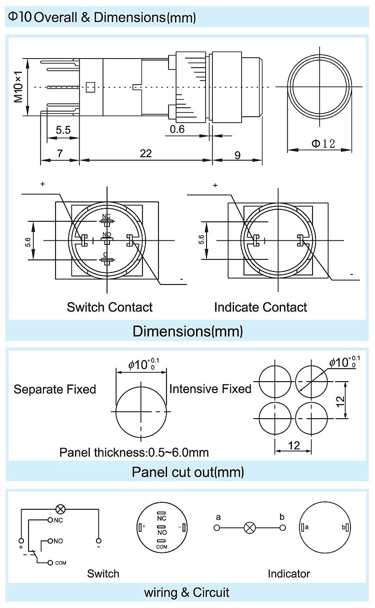 Ad10 3 Pins Blue Round Push Button Switch For Wiring Toggle Diagrams Kcd1 5 Product Details